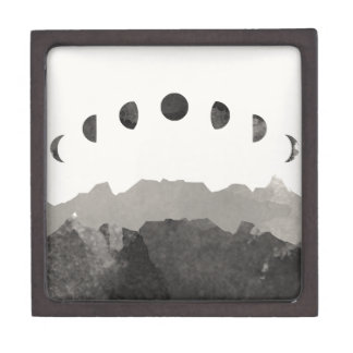 Phases of the Moon Astronomy Space Watercolor Keepsake Box