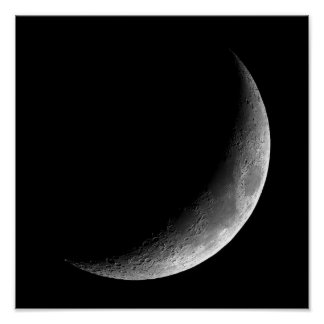 PHASES OF THE MOON, CRESCENT MOON. PHOTO 3 OF 5. POSTER
