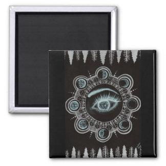 Phases of the Moon Eye 2 Inch Square Magnet
