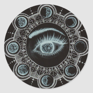 Phases of the Moon Eye Classic Round Sticker