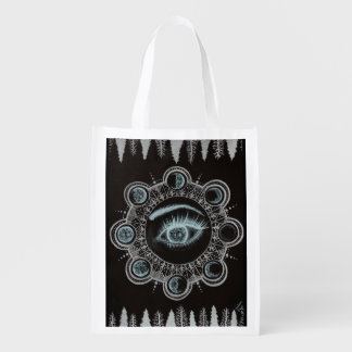 Phases of the Moon Eye Reusable Grocery Bag