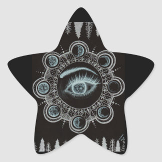 Phases of the Moon Eye Star Sticker