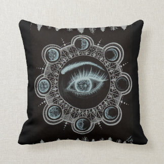Phases of the Moon Eye Throw Pillow