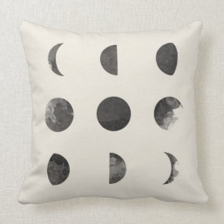 Phases of the Moon Luna Watercolor Art Crescent Pillow