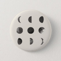 Phases of the Moon Lunar Watercolor Button