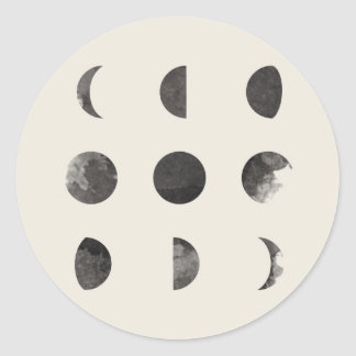 Phases of the Moon Lunar Watercolor Classic Round Sticker