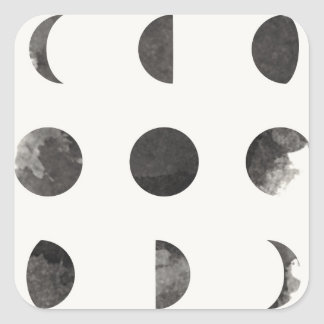 Phases of the Moon Lunar Watercolor Square Sticker