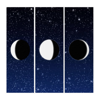 Phases of the Moon on Deep Midnight Blue Triptych