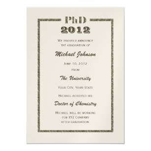 Doctorate graduation invitations announcements zazzle phd doctoral graduation announcement metallic filmwisefo
