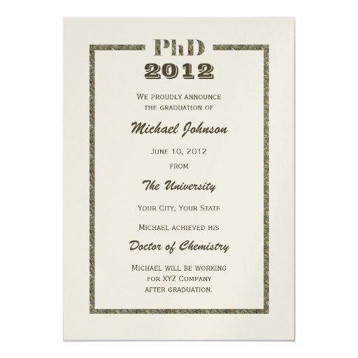 "PhD Doctoral Graduation Announcement - Metallic 5"" X 7"" Invitation Card"