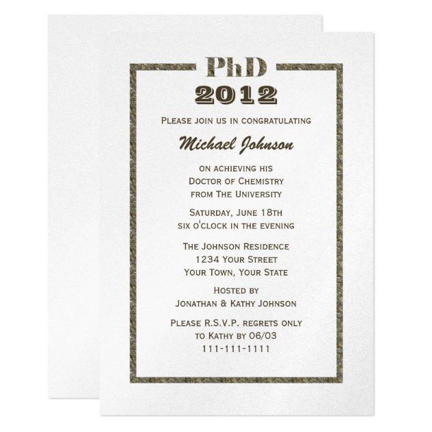 phd doctorate graduation invitation metallic