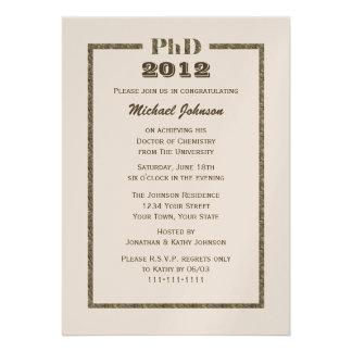 PhD Doctorate Graduation Invitation - Metallic Personalized Invites