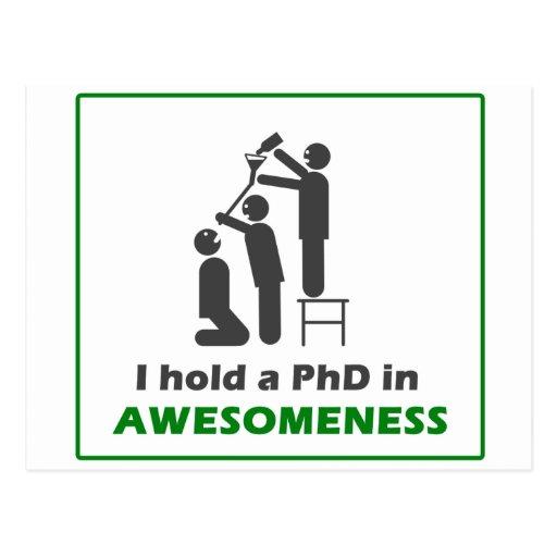 PhD en Awesomeness Tarjeta Postal