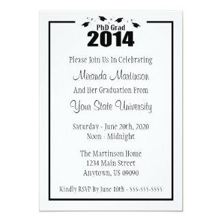 PhD Grad 2014 Graduation Invitation (Black Caps)