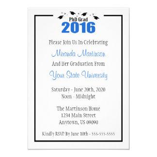 PhD Grad 2016 Graduation Invitation (Blue Caps)