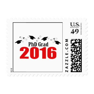 PhD Grad 2016 (Red Caps And Diplomas) Postage Stamp