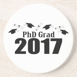 PhD Grad 2017 Caps And Diplomas (Black) Sandstone Coaster