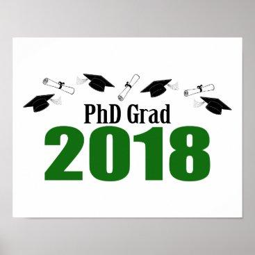Art Themed PhD Grad 2018 Caps And Diplomas (Green) Poster