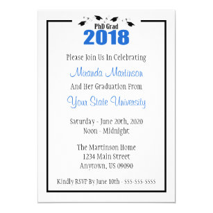 Phd graduation gifts on zazzle phd grad 2018 graduation invitation blue caps filmwisefo