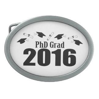 PhD Grad Class Of 2016 Caps And Diplomas (Black) Oval Belt Buckle
