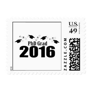PhD Grad Class Of 2016 Caps And Diplomas (Black) Postage