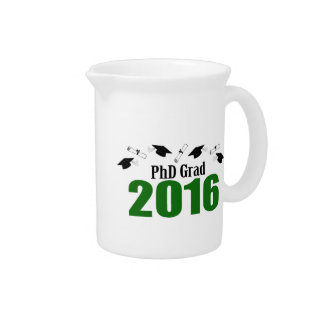 PhD Grad Class Of 2016 Caps And Diplomas (Green) Drink Pitchers