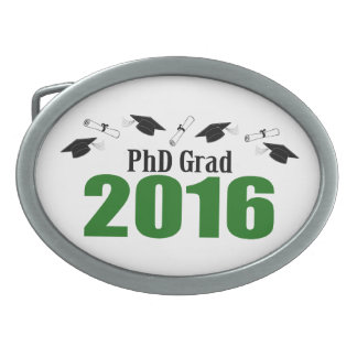 PhD Grad Class Of 2016 Caps And Diplomas (Green) Oval Belt Buckle