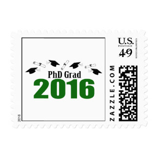 PhD Grad Class Of 2016 Caps And Diplomas (Green) Postage Stamp