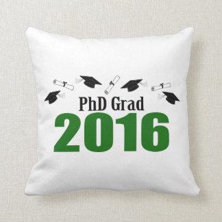 PhD Grad Class Of 2016 Caps And Diplomas (Green) Throw Pillow