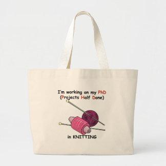 PhD in Knitting Large Tote Bag