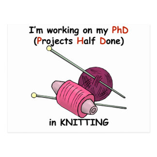 PhD in Knitting Postcard