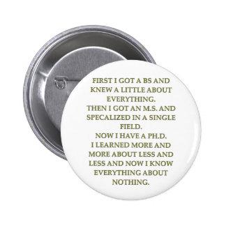 phd joke pinback buttons