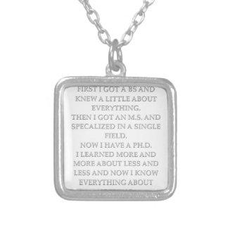 phd joke square pendant necklace