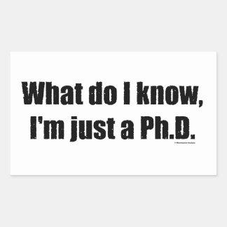 PhD - Qué yo conocen a los pegatinas Rectangular Altavoz