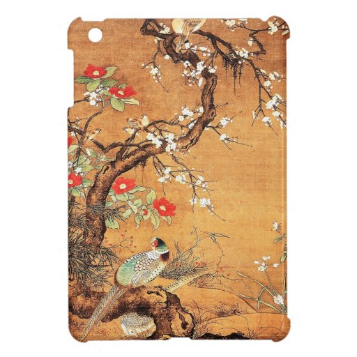 Pheasant and camellia oriental chinese ink art case for the iPad mini