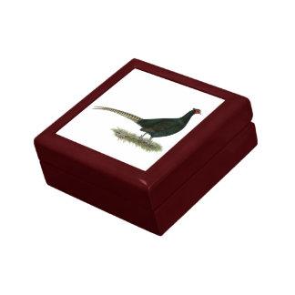 Pheasant Black Rooster Trinket Box