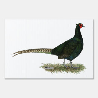 Pheasant Black Rooster Lawn Sign