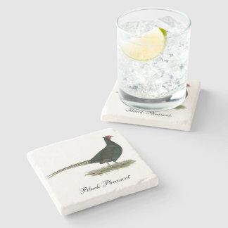 Pheasant Black Rooster Stone Coaster