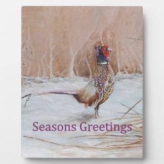Pheasant in snow Seasons Greeting art Plaque