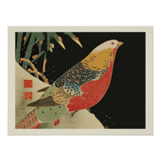 Pheasant in the Snow Japanese Bird Woodcut Posters