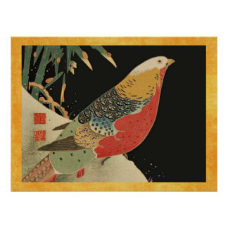 Pheasant in the Snow Vintage Japanese Bird Woodcut Print