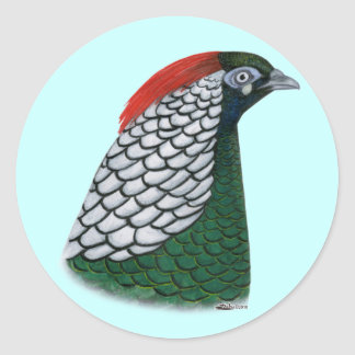 Pheasant:  Lady Amherst Head Classic Round Sticker