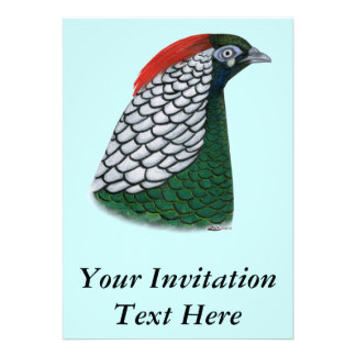 Pheasant Lady Amherst Head Personalized Invite