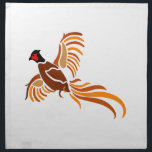"Pheasant Napkin<br><div class=""desc"">This beautiful and artistic pheasant in flight is a perfect choice for the outdoorsman.  We love it on gun cases and hunting apparel.</div>"