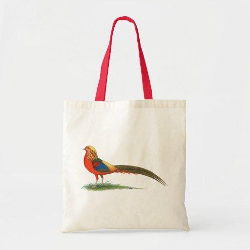Pheasant:  Red Golden Tote Bag