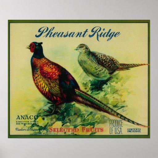 Pheasant Ridge Apple Crate Label Poster