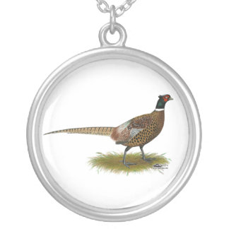 Pheasant Rooster Silver Plated Necklace