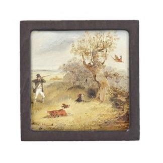 Pheasant Shooting (oil on canvas) 2 Premium Jewelry Box