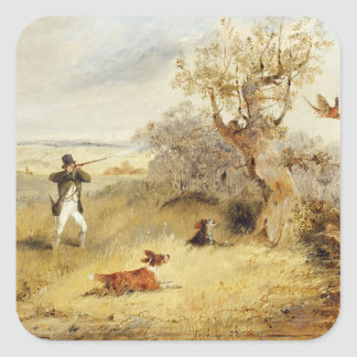 Pheasant Shooting (oil on canvas) 2 Square Sticker