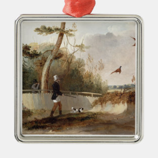 Pheasant Shooting (oil on canvas) Metal Ornament